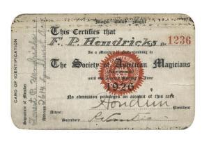 Houdini Signed SAM Membership Card